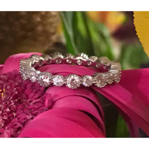 Elegant Diamond Wedding Band-sterling silver Eternity band