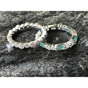 Wedding Eternity Band Stack Set with Aqua Gemstone Band