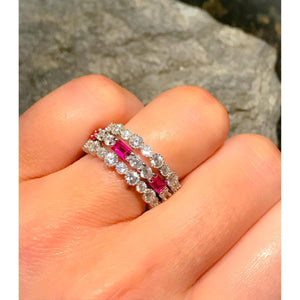 3 ring set Diamond and ruby Ring and 2 Eternity band