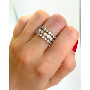 White Opal Stack Ring-Diamond Eternity Band