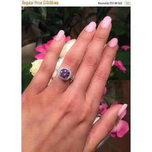 Amethyst Halo Engagement Ring