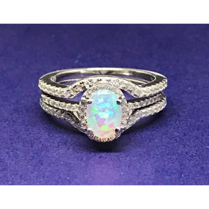 White Opal Ring-Three Ring Engagement Set