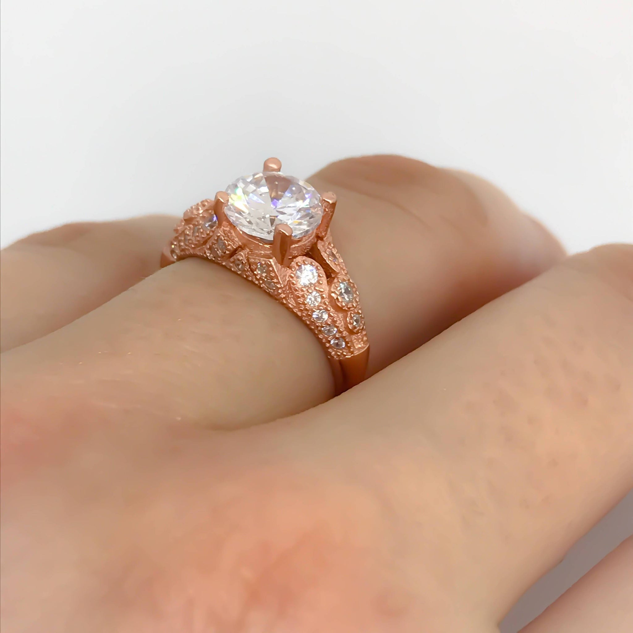Rose Gold Engagement RingRight hand RingSoltaire RingRose Gold
