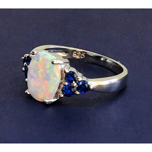White Fire Opal & Sapphire Ring