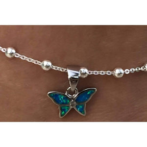 Butterfly Blue Opal Ankle Bracelet Set in Sterling Silver