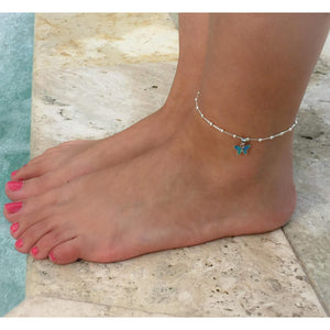 Blue Fire Opal Butterfly Anklet