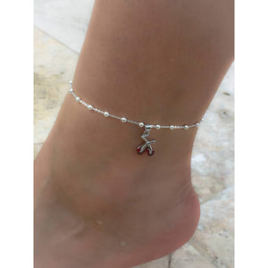 Sterling Silver Cherry Ankle Bracelet