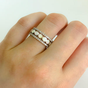 White Opal Band | Silver Stacking Rings | 3 Ring Wedding Set