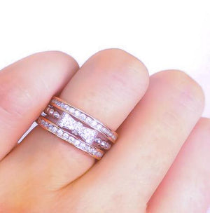 Rose Gold Stack Ring with Bow Ring - Art Deco Rings - CZ Eternity Bands