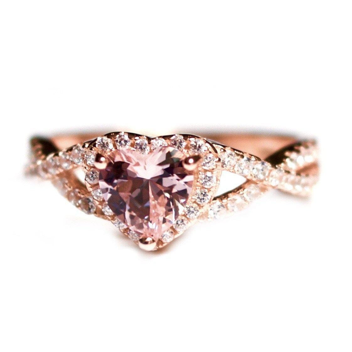 1e89971c33 Morganite Heart Ring-Rose Gold Infinity Heart and CZ Ring - Journeys