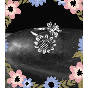 Bee and Sunflower Spoon Ring