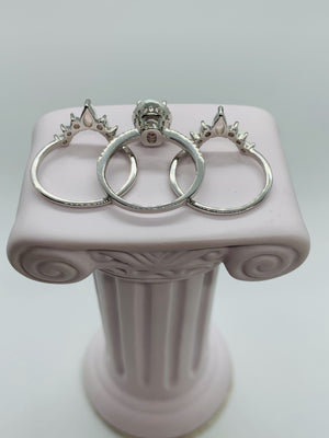 Opal Ring, White fire opal, 3 piece Crown ring