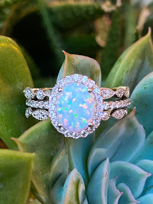 White Fire Opal Engagement Ring - Three Ring Wedding Set