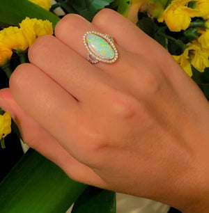 Opal Cocktail Ring | White Opal Ring