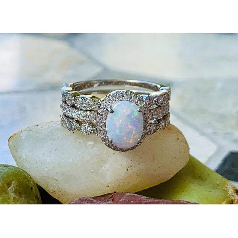 Fire Opal Ring Stacking Ring Set Opal Engagement Ring