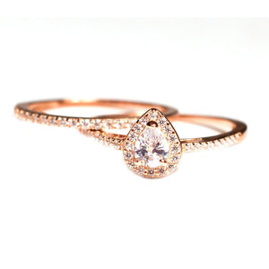 Rose Gold Teardrop Engagement Ring Set - Pear Shaped Wedding Set