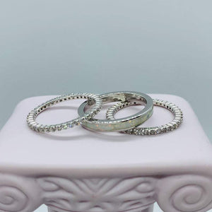 White Opal Band & CZ Eternity Band Ring Stack