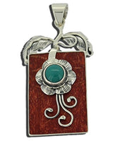 Coral Stabilised Turquoise Flower Pendant Bali 925 Sterling Silver