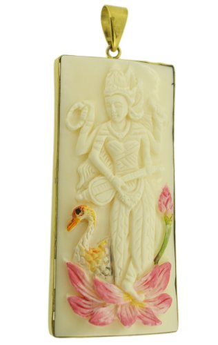 Saraswati Pendant Balinese Goddess of Books Bone Hand Carved Gold Plated