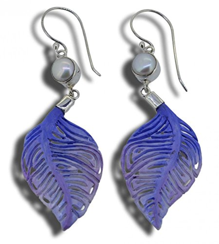 Carved Leaf Imitation Pearl Earrings