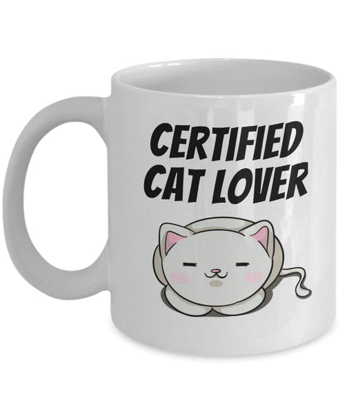 Certified Cat Lover Person Human Companionship Creative Coffee Mug Gift Ideas Ceramic Dishwasher Safe Tea Cup 21/4 J