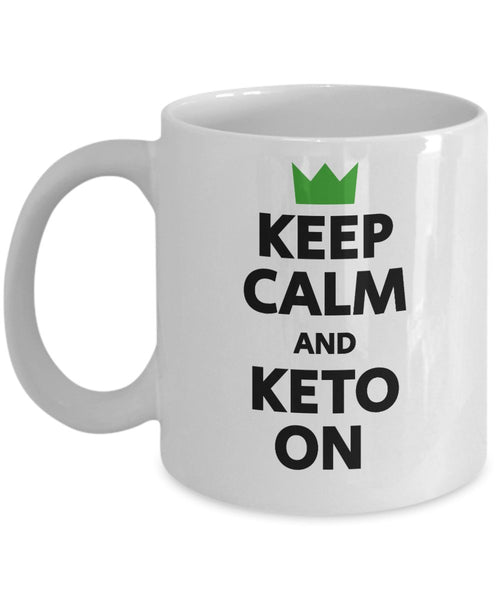 Keep Calm and Keto On Novelty Low Carb Diet Plan Energized Fat Ketones Weight Loss Gift Ideas Souvenir Printed Coffee Cup Mug Tea Cup 14/20 J
