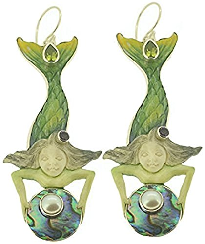 Amazing Mermaid Earrings Amethyst Peridot Abalone Paua Shell White Mabe Pearl Sterling Silver