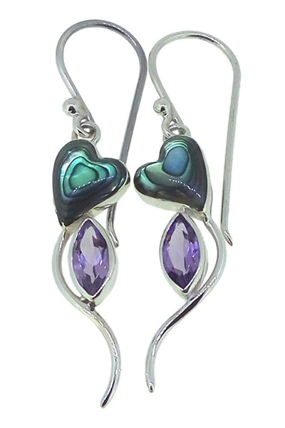 Amethyst Abalone Paua Shell 925 Sterling Silver Earrings