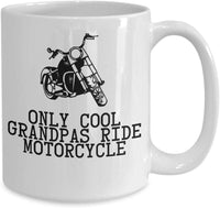 Only cool Grandpas Ride Motorcycle GrandFather Riding Motor Bike Coffee Mug Gift Present Ideas for Birthdays 26/16 Joed