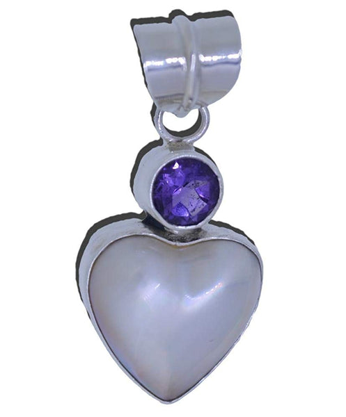 Heart Shaped Cream Cultured Pearl Purple Amethyst Pendant Sterling Silver 925