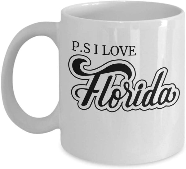 P.S I Love Florida Living Happy Travel Destination Place City Coffee Mug Cafe Drinking Cup 25/26 J