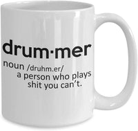 Drummer Printed Meaning Definition Funny Meme's Drums Hobby Coffee Mug Gift Ideas Tea Cup Teaware Drinkware Cafe 30/27 joed