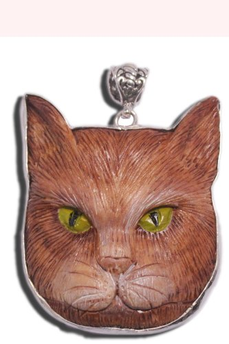 Brown Tabby Calico Cat Kitty Artist Painted Pendant Bali 925 Sterling Silver