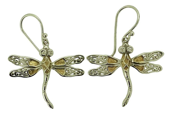 Dragonfly White CZ 925 Sterling Silver Earrings