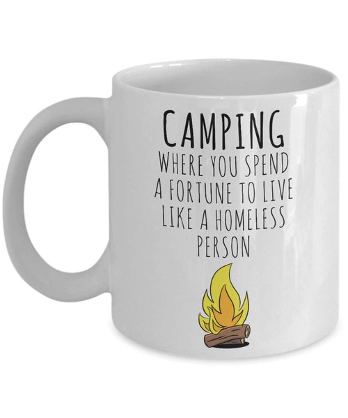 Camping Homeless Person Outdoor Activity Overnight Stays Tent Shelter Coffee Mug Gift Ideas Tea Cup Souvenir 16/20