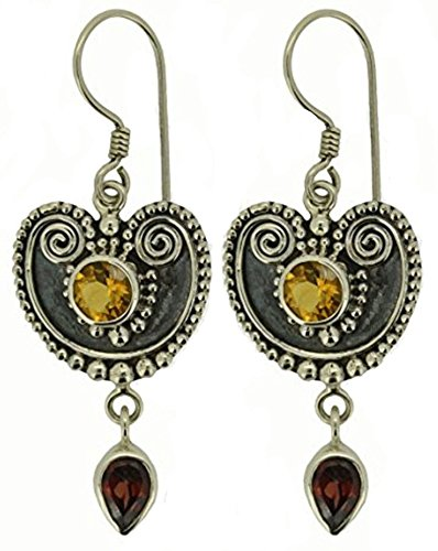 Elegant Citrine Garnet Earrings Oxidised