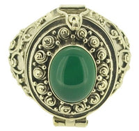 Handmade Bali Sz 9 Poison Box Green Dyed Agate 925 Sterling Silver5 Ring