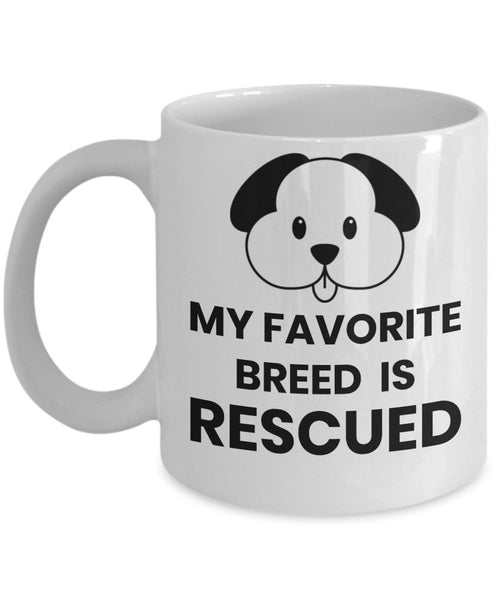 Dog Lover Fun Gift Dog Owner Mug My favorite breed is rescued 6/6 J