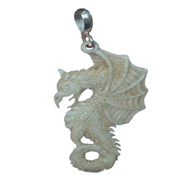 Jewelry with Soul Dragon Natural Buffalo Bone 925 Sterling Silver Pendant