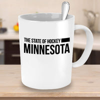 The state of Hockey, Minnesota Sport Play Tournament MN Place City Coffee Mug Cafe Drinking Cup for Friends Family 25/18 J