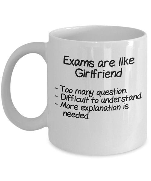 Exams are like girlfriend ? Too many question, difficult to understand,more explanation is needed. Funny Boyfriend Theory Printed Coffee Mugs Gift Ideas 13/7 J