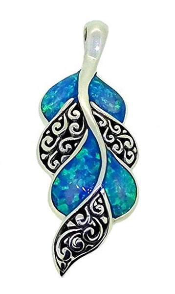 Leaf Motif Synthetic Blue Opal 925 Sterling Silver Pendant