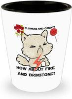 Gift Mug Valentines Cat Flowers and Candy or Fire and Brimstone Coffee Mug M18