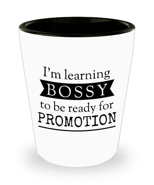 I'm learning bossy to be ready for promotion Funny Office Collectible Novelty Shot Glass 6/21a J