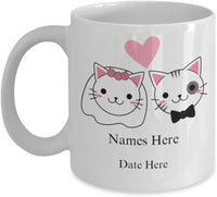 Cat Mug Couple Mug Personalized Mug Engagement Mug Wedding Mug, Personalized Wedding Gift Engagement Gift Anniversary Gift Unique Coffee Mug 9/8 J