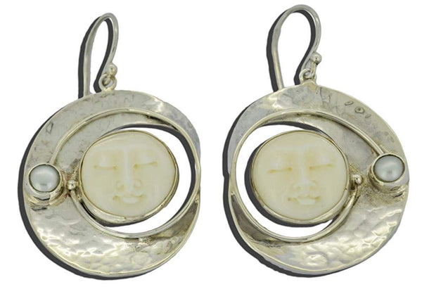 Unusual Moon Face Cultured Pearl Earrings 925 Sterling Silver from Bali