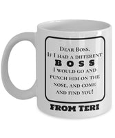 Dear Boss Personalized Coffee Mug Tea Cafe Cup Brewed CEO Manager Officemate 8/21 J