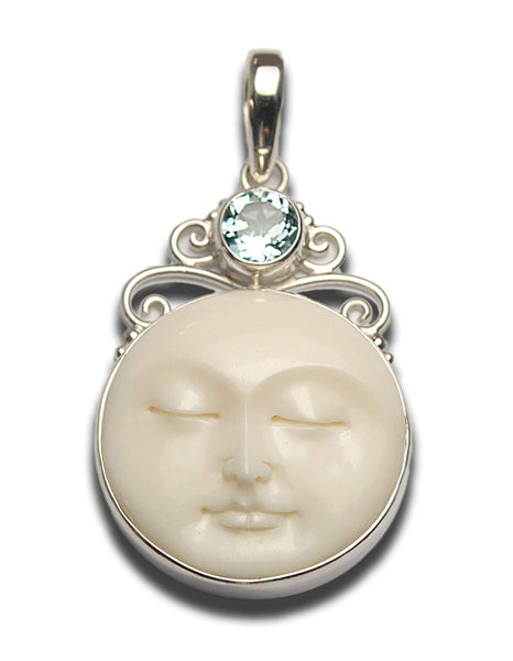 Serene Blue Topaz Moon Face Scrolled Pendant Sterling Silver 925