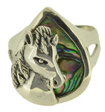 Sz 11 Jewelry with Soul Horse Abalone Paua Shell Sterling Silver 925 Ring