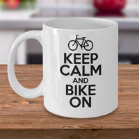 Keep Calm and Bike On Bicycle Lover Great Gift Ideas for Bikers Coffee Mug Tea Cup Ceramic Cafe Drinks Friends Family 26/4 Joed
